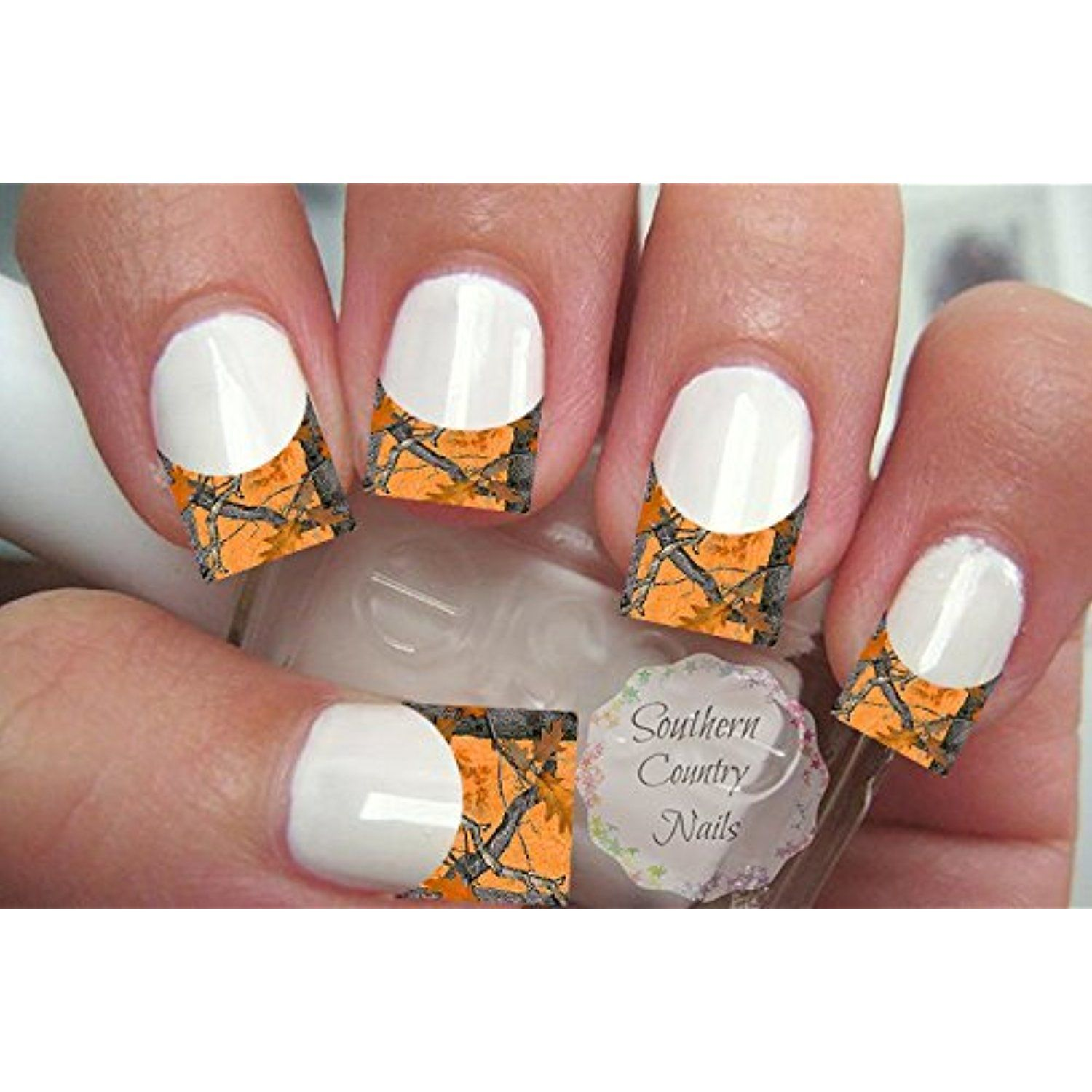 20 Nail Art Decals French Tip Orange Camo ** More info could be ...