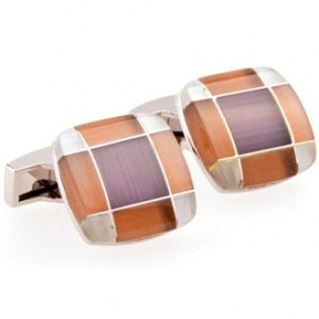 Brown Mother Of Pearl Square Cufflinks