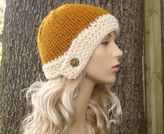 Knit Hat Womens Hat Mustard Hat Cream Hat Cloche by pixiebell  53f1fc04c6a