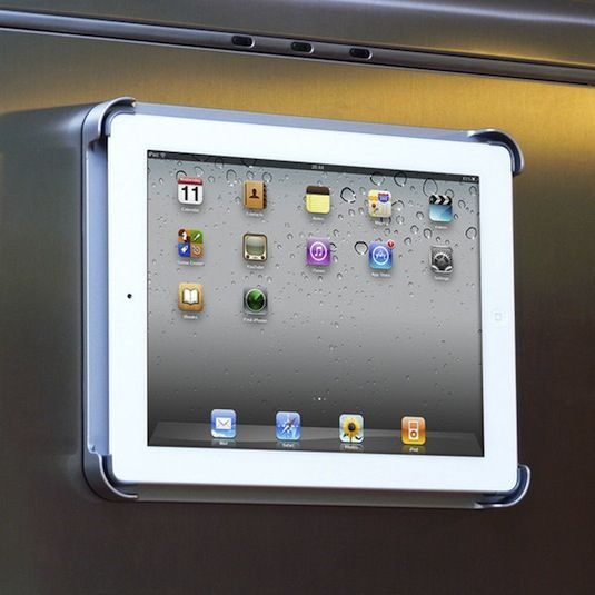 Fridgepad for iPad. I use my iPad in the kitchen a lot when I'm referring to an online recipe or playing music from my iTunes while cooking. This is the perfect place to store it and be able to easily view and access it. Heck, this also turns it into a small flat screen TV! There is also an optional wall mount kit, so you can put it on a wall or cabinet instead of the fridge.