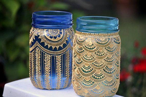 Set Of 2 Bohemian Mason Jars Lanterns Decorated With Henna Design