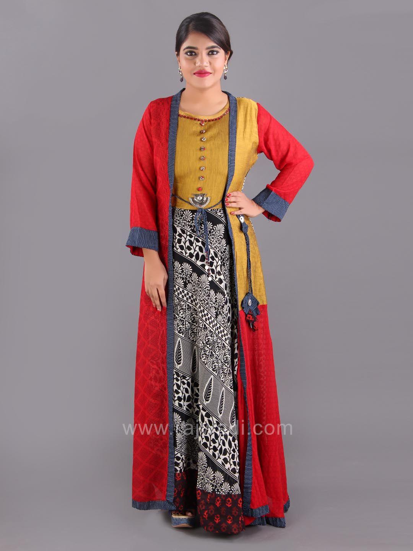 d7f77fb64829c3 Chiffon Silk Printed Long Kurti with Jacket Style Koti   rajwadi ...