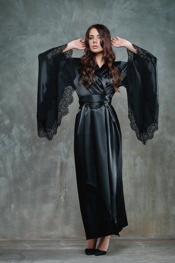 Old Hollywood Robe Long Black Robe Black Kimono With Lace Black
