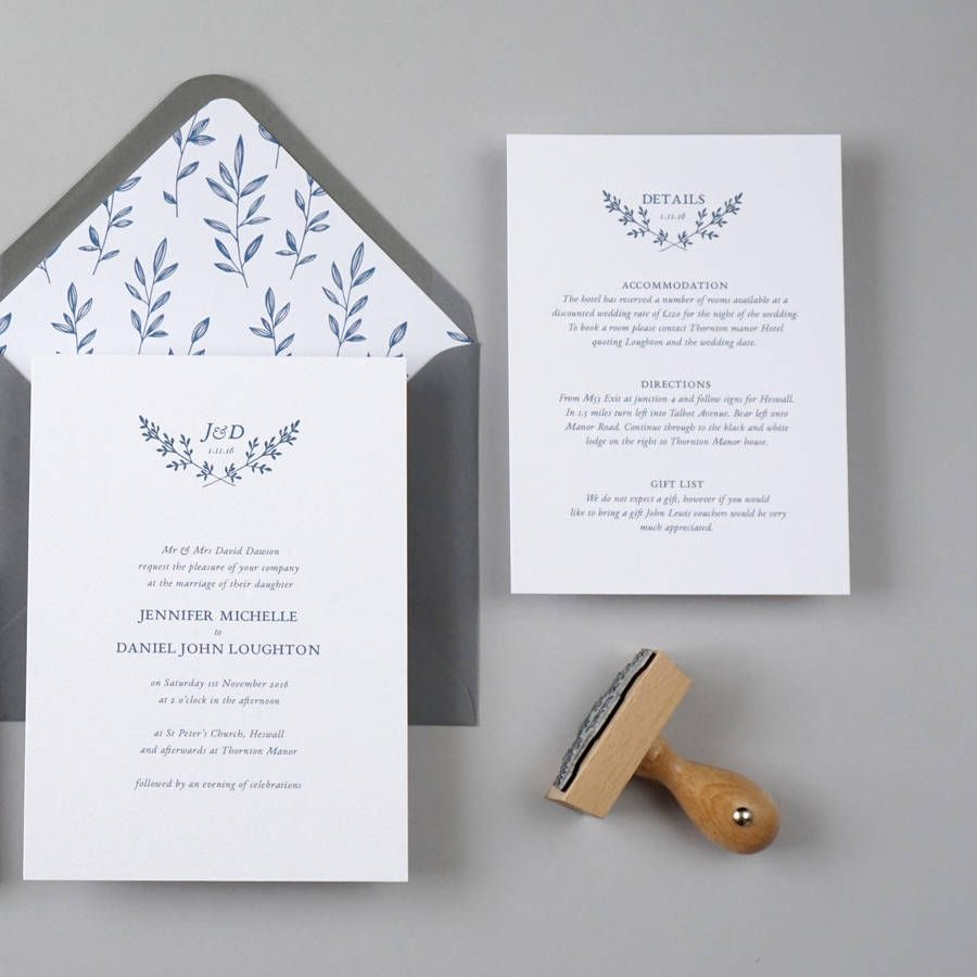 how to get directions for wedding invitations%0A Botanical Logo Wedding Invitation