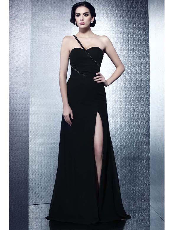 Elegante One Shoulder Abendkleider A-Linie Chiffon Schwarz ...
