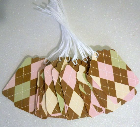 Set of 18 Prestrung--Gift Tags -- baby pink and brown. $2.70, via Etsy.