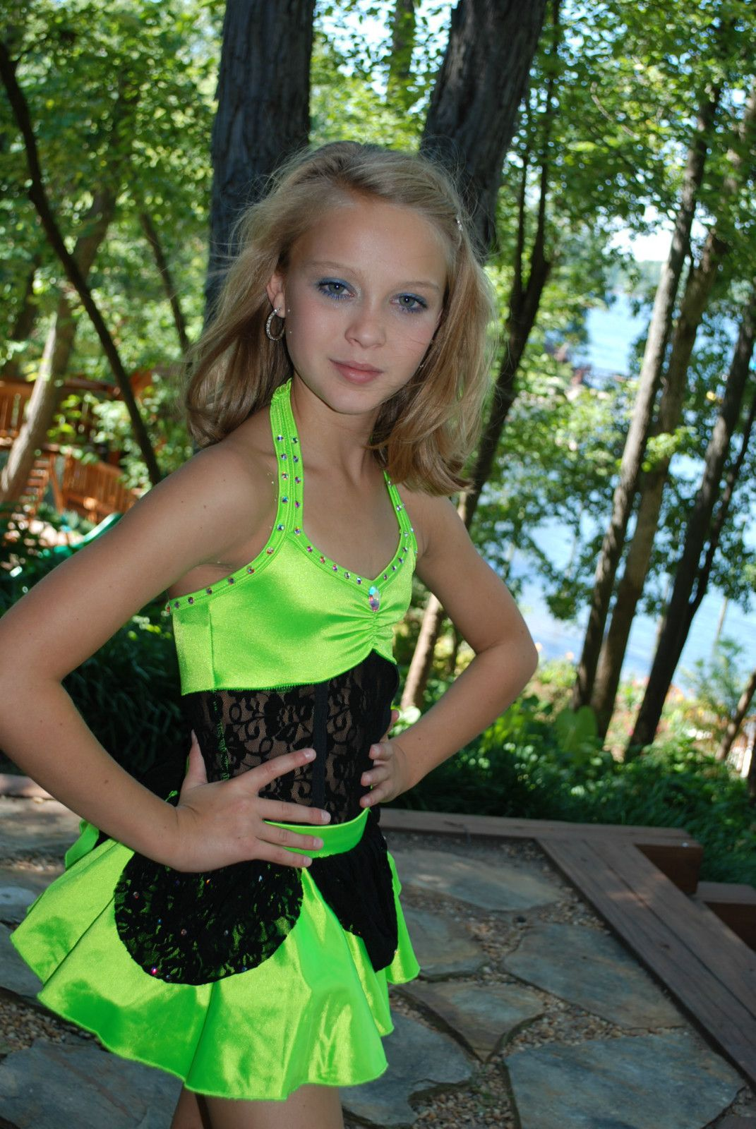 Custom Competition Dance Costume Lime Black cm or CL Jazz ...