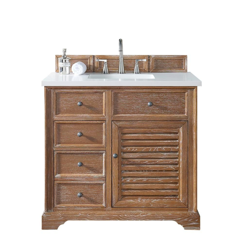 James Martin Signature Vanities Savannah 36 in. W Single Vanity in Driftwood with Quartz Vanity Top in White with White Basin