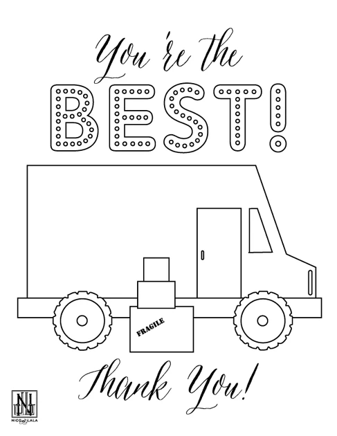 Thank You Delivery Drivers Coloring Pages Google Search Coloring Sheets Chic Wedding Invitations Color