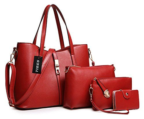 Tibes Fashion Women's PU Leather Handbag+Shoulder Bag+Purse+Card Holder 4pcs Set Tote Black: Handbags: Amazon.com