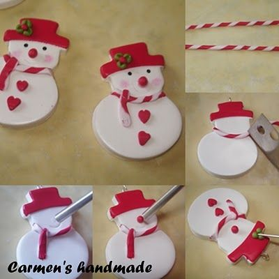 Photo tutorial for cute snowman ornament, gift topper or pendant