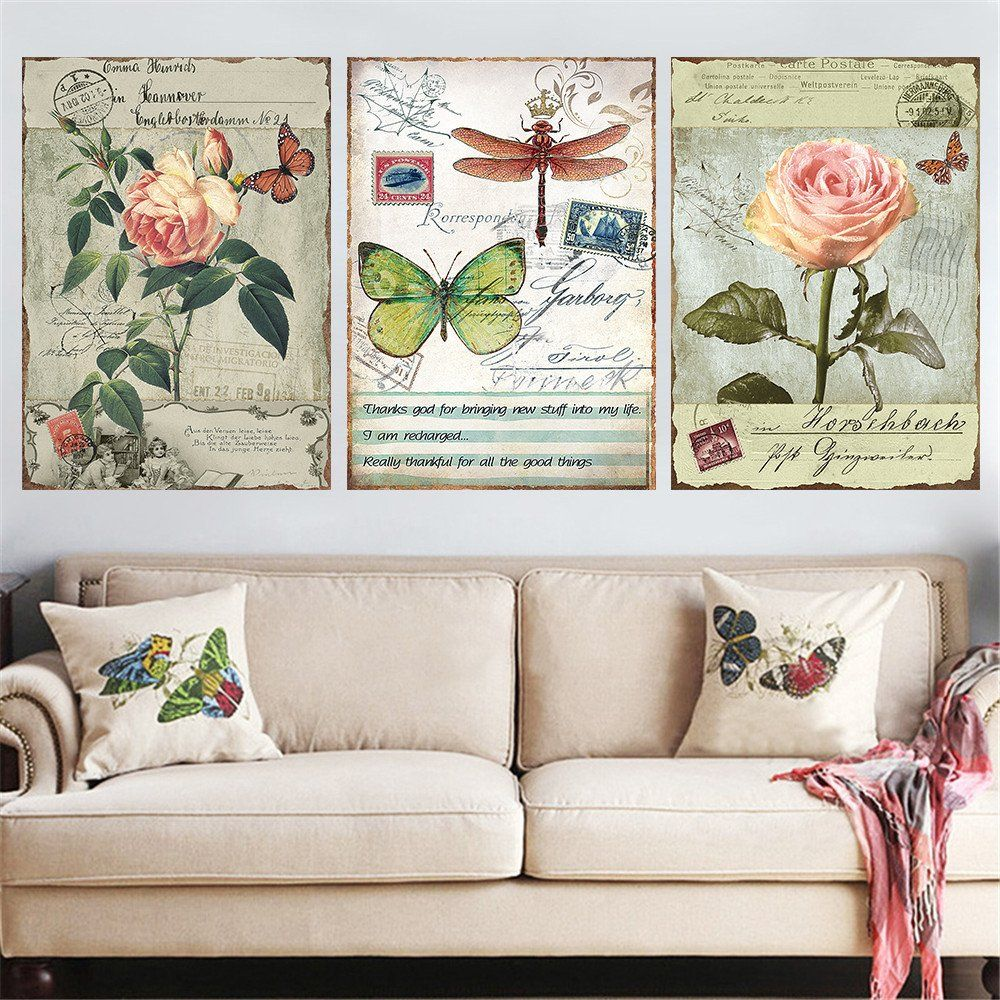 Living Room Canvas Paintings 3 Panel Modern Countryside Flower Canvas Painting Hd Poster