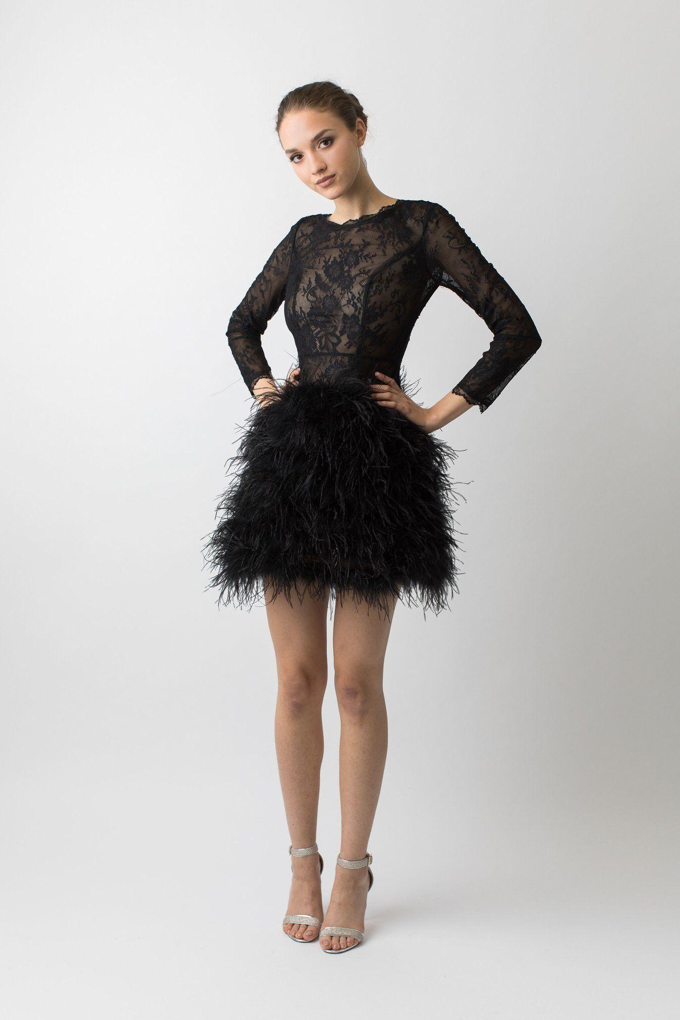 Rozalie Feather Dress Short Black Feather Dress Feather Dress [ 2048 x 1365 Pixel ]