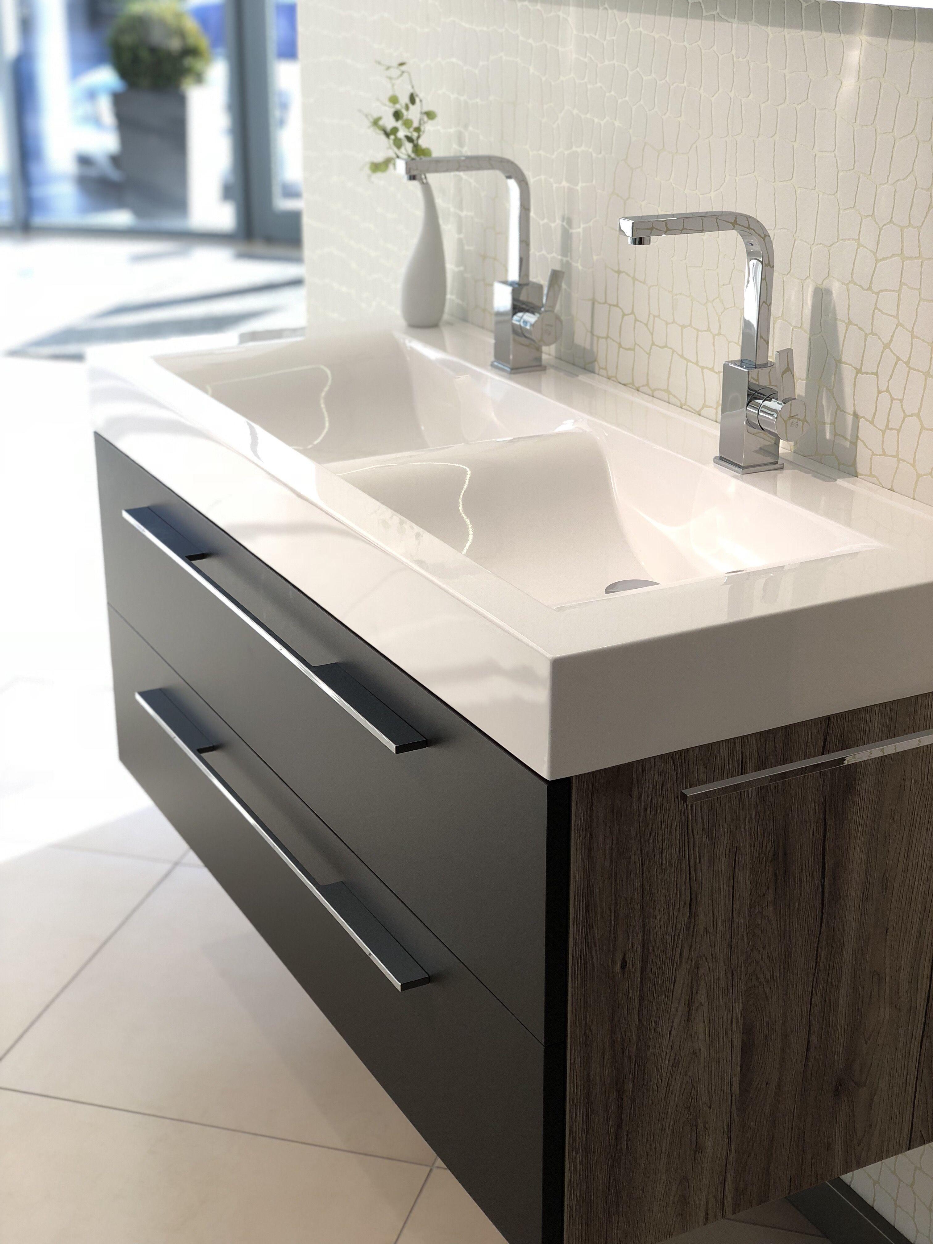 Unser Salerno 2 0 Waschtisch Mineralguss Doppelwaschtisch 120 Cm Farbe Weiss Alpin Mit Evermite Beschichtung Badezimmer Doppelwaschtisch Ablaufgarnitur