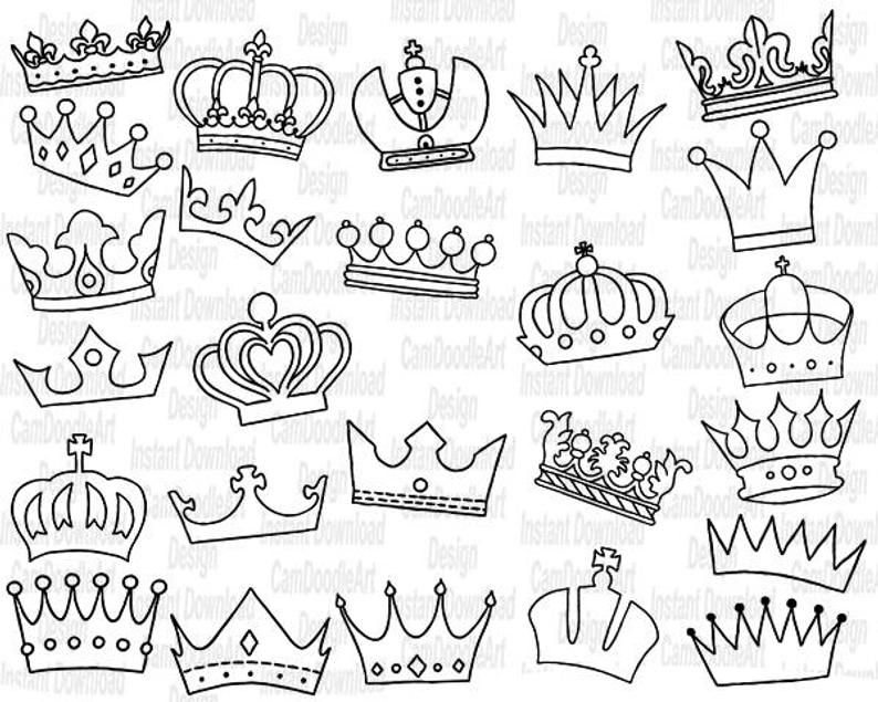 25 Doodle Crowns Vector Pack Hand Drawn Doodle Clipart Hand Drawn Crowns Sketch Drawing Vector Eps Pdf Png Ai File How To Draw Hands Side Hand Tattoos Crown Drawing