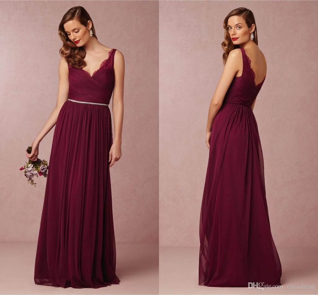Wine Red Burgundy Lace Tulle Long Boho Beach Bridesmaid Dresses in ...