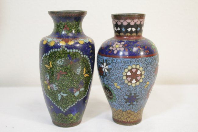 6 Japanese Antique Cloisonne Vases Lot 453 Cloisonne Pinterest