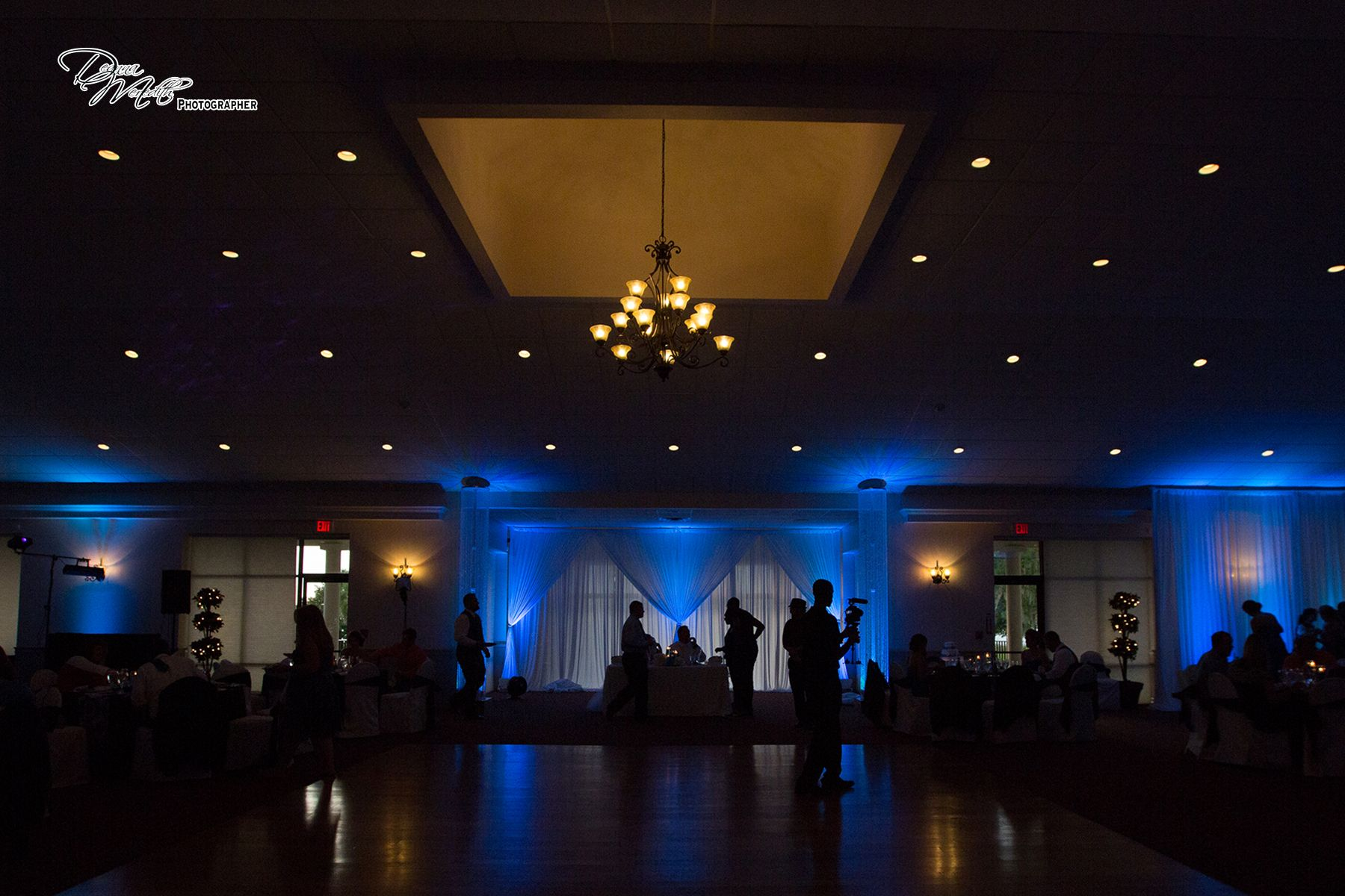 Our up lighting backdrop & crystal towers at Tanner Hall Winter Garden Fl