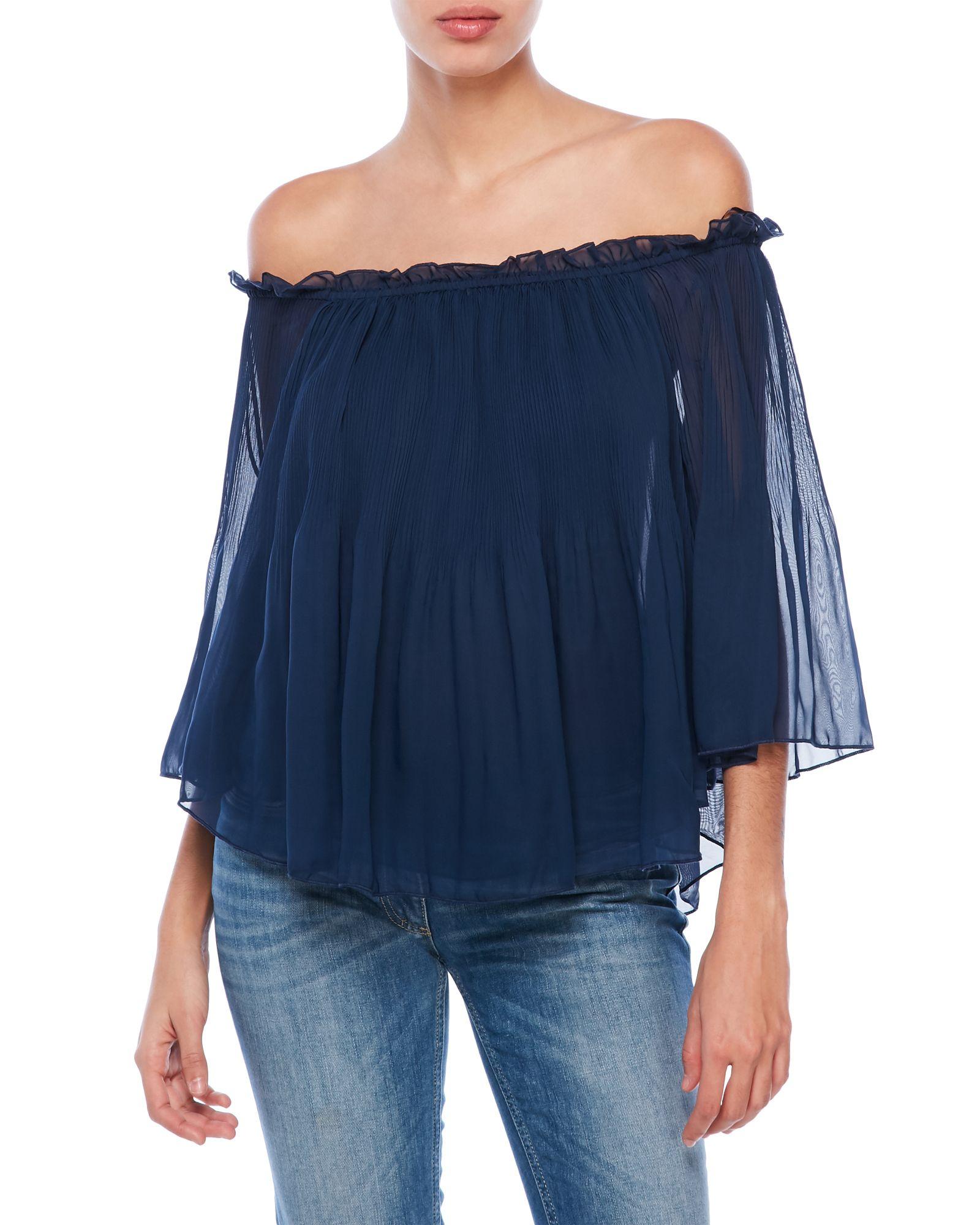 Ladies Chiffon Gypsy Boho Sheer 3//4 Sleeve Off Shoulder Womens Top Plus Size