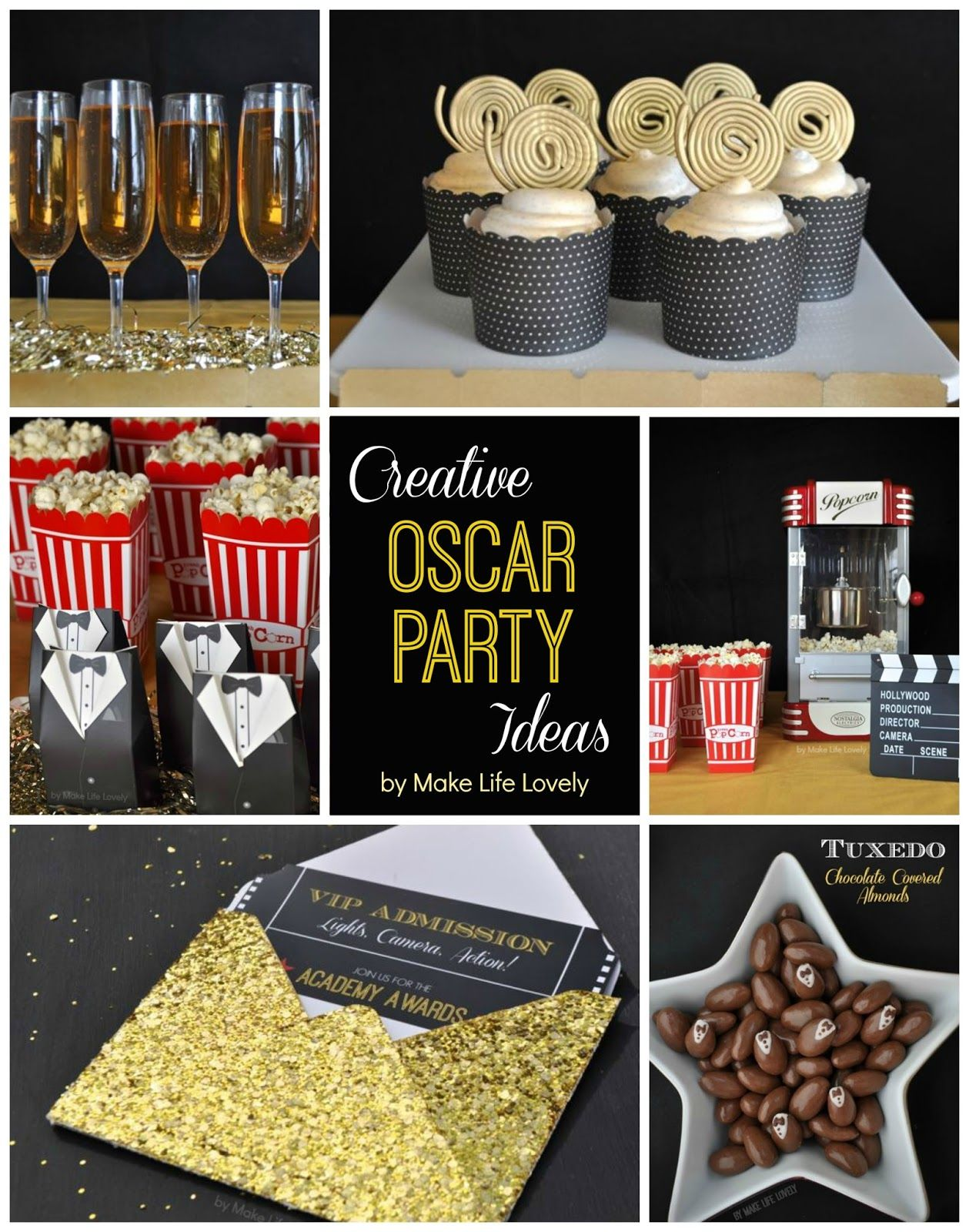 Oscar Themed Party Decoration Ideas Part - 21: Make Life Lovely: Creative Oscars Party Ideas + Film Reel Cupcakes