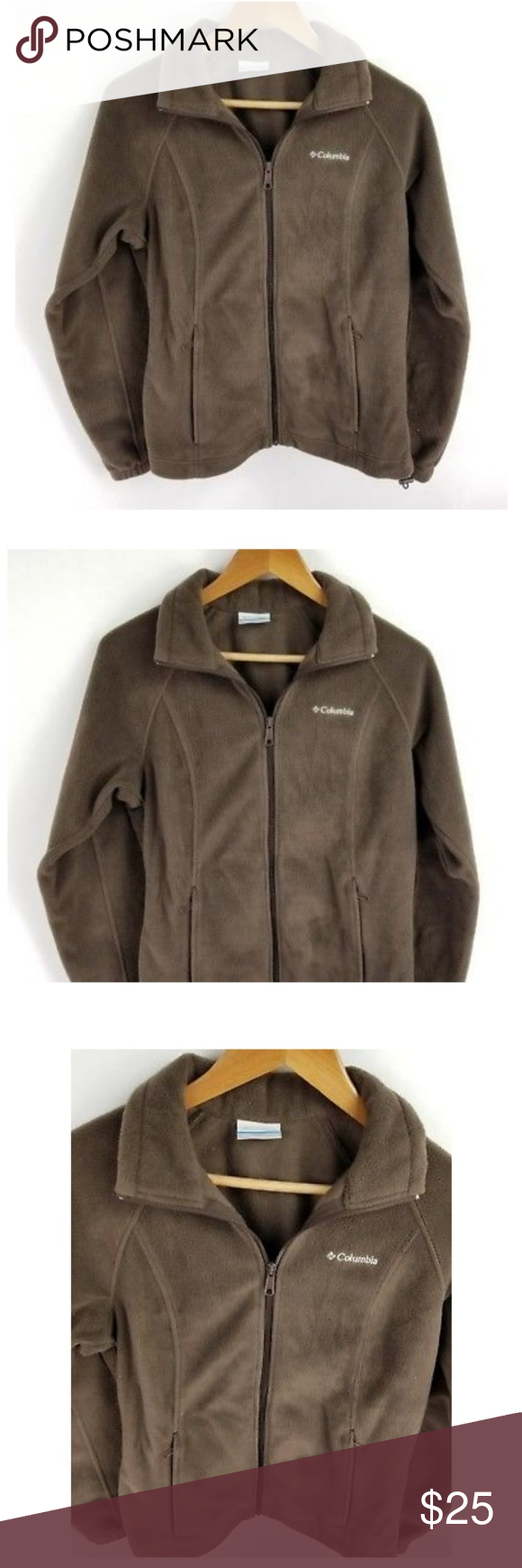 Columbia fleece jacket brown zip up pockets small my posh picks