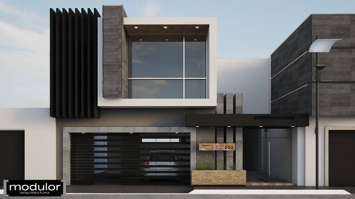 Fotos de casas de estilo moderno fachada jr220 - Cerramientos de fachadas ...