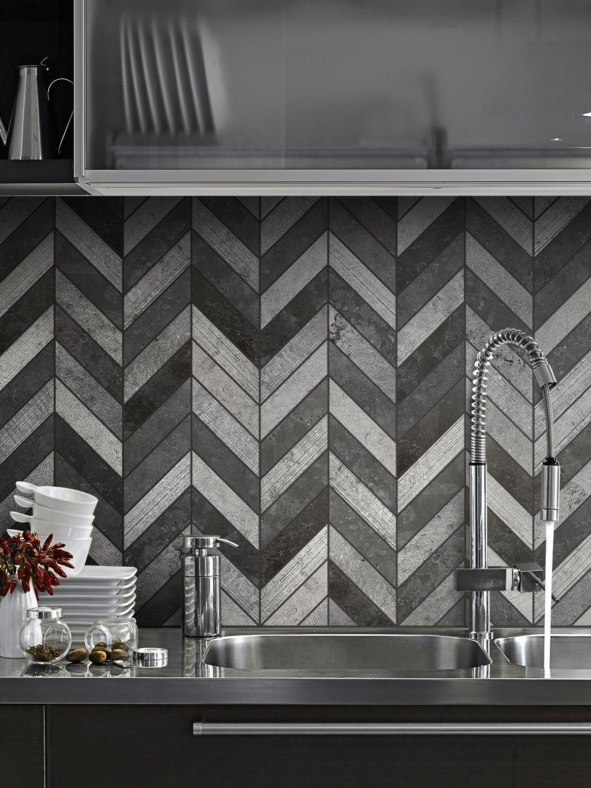 Best Black Gray Modern Limestone Chevron Backsplash Tile 400 x 300