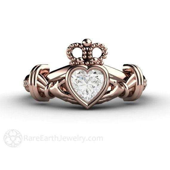 Traditional 17th Wedding Anniversary Gifts: Diamond Claddagh Ring Irish Engagement Ring Promise Ring