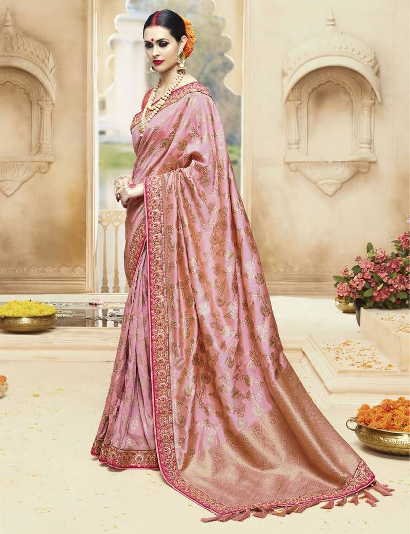 cd3d7438f6e77 Peach Embroidered Kanchipuram Silk Saree With Blouse in Designer style. Get  47% Off and Free Stitching.