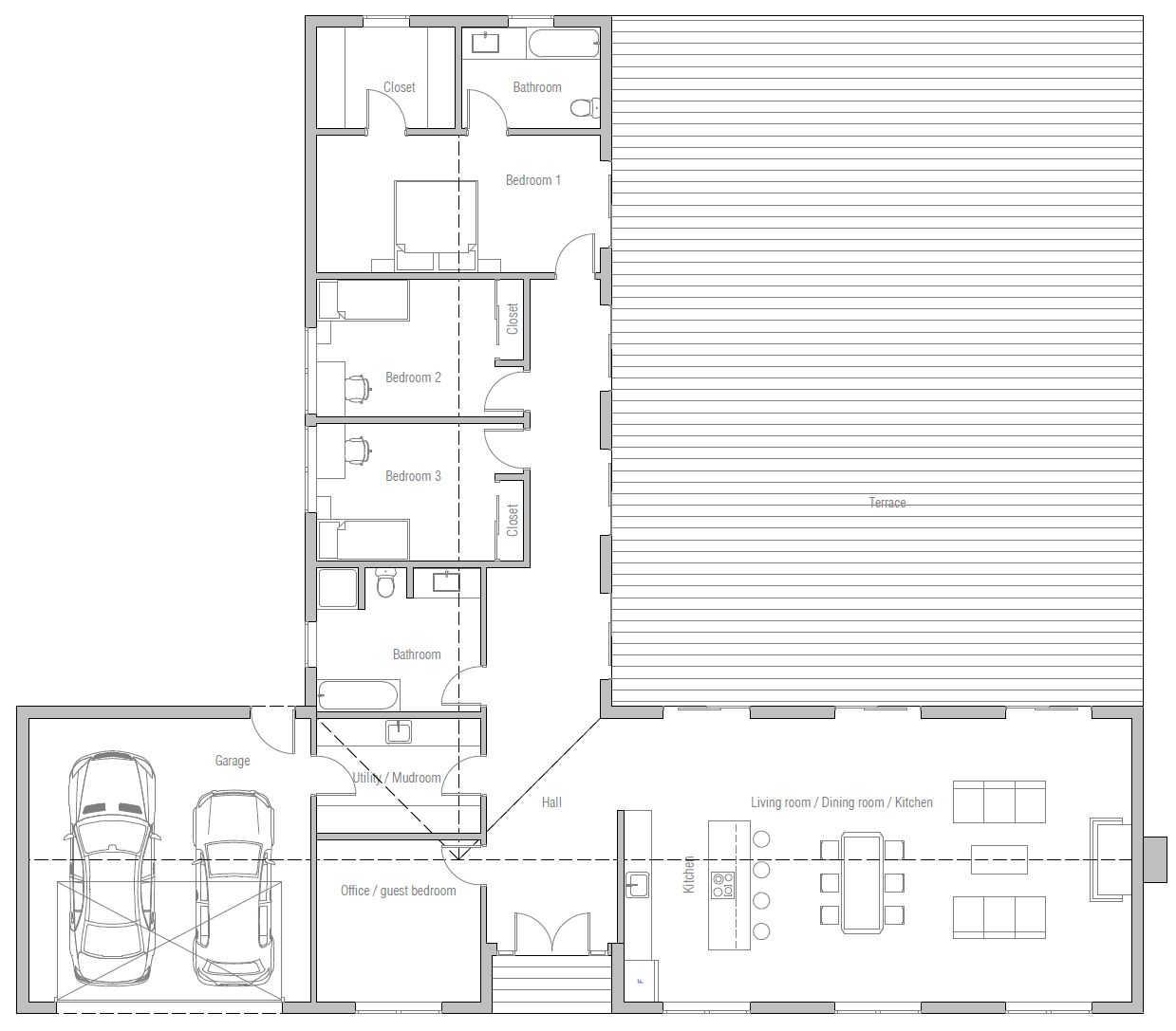 house design house-plan-ch389 10 in 2020 | Bungalow house ...
