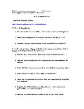 War Of Webquest Worksheet