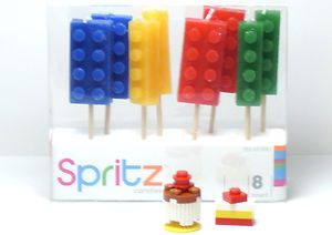 Lego Custom BIRTHDAY CAKE PRESENT Spritz 8 Block Candles Great For Party
