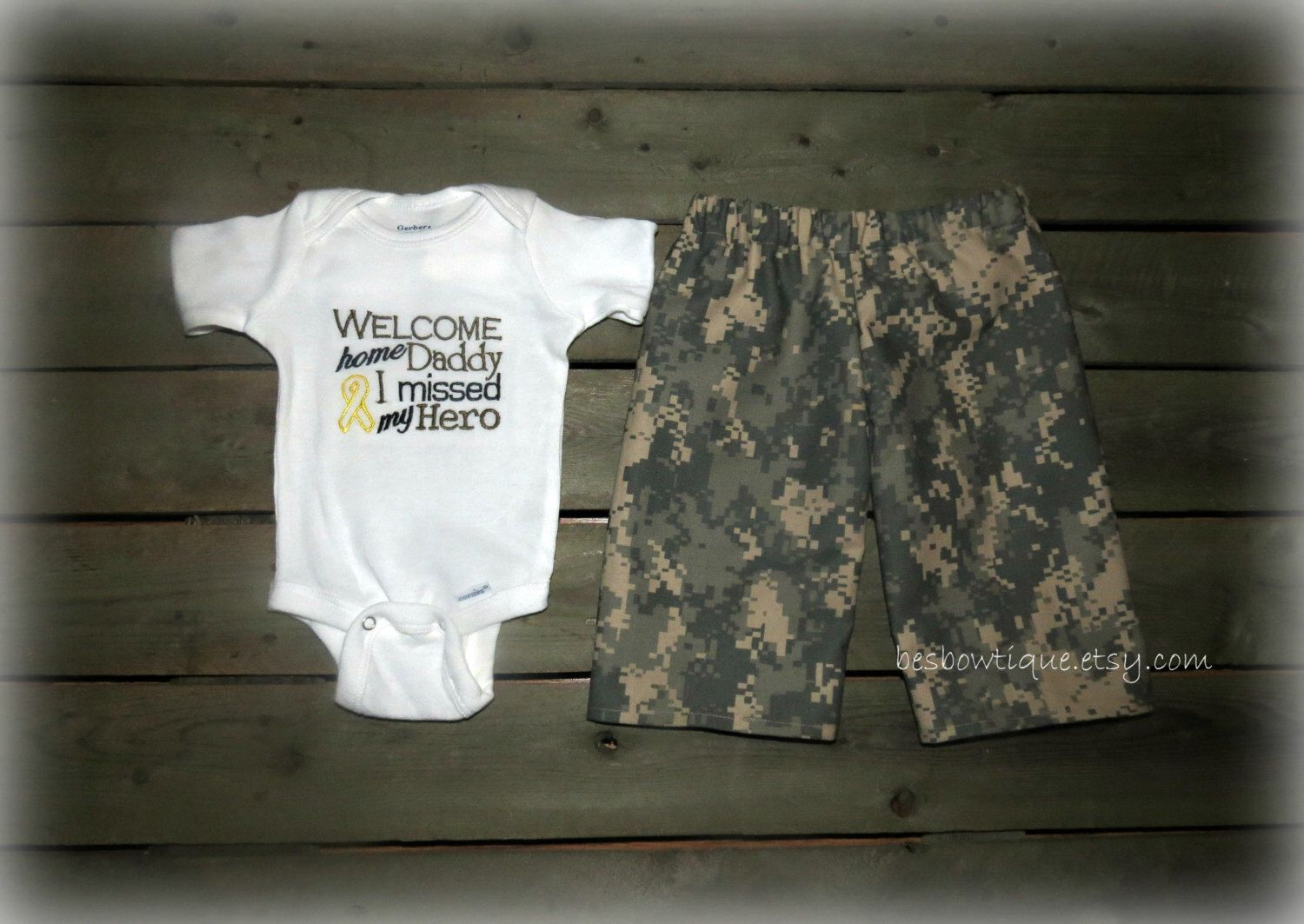 Welcome Home Daddy I Missed My Hero Boy's Military Welcome Home Outfit- For Sizes Newborn-5T- Army, Navy, Marines, and Airforce by BesBowtique on Etsy https://www.etsy.com/listing/175191208/welcome-home-daddy-i-missed-my-hero-boys
