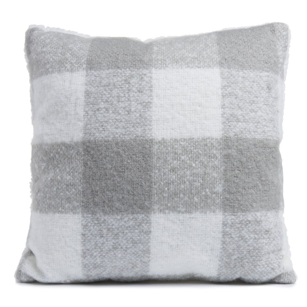 Wilko Grey and White Check Cushion 43x43 New home