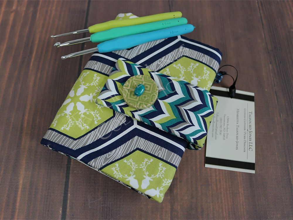 Blue, Lime Green, White Crochet Hook Case - Crochet Hook Roll Up - Needle Organizer - Crochet Supplies - Rustique - Knitter Gift by TalfourdJones on Etsy