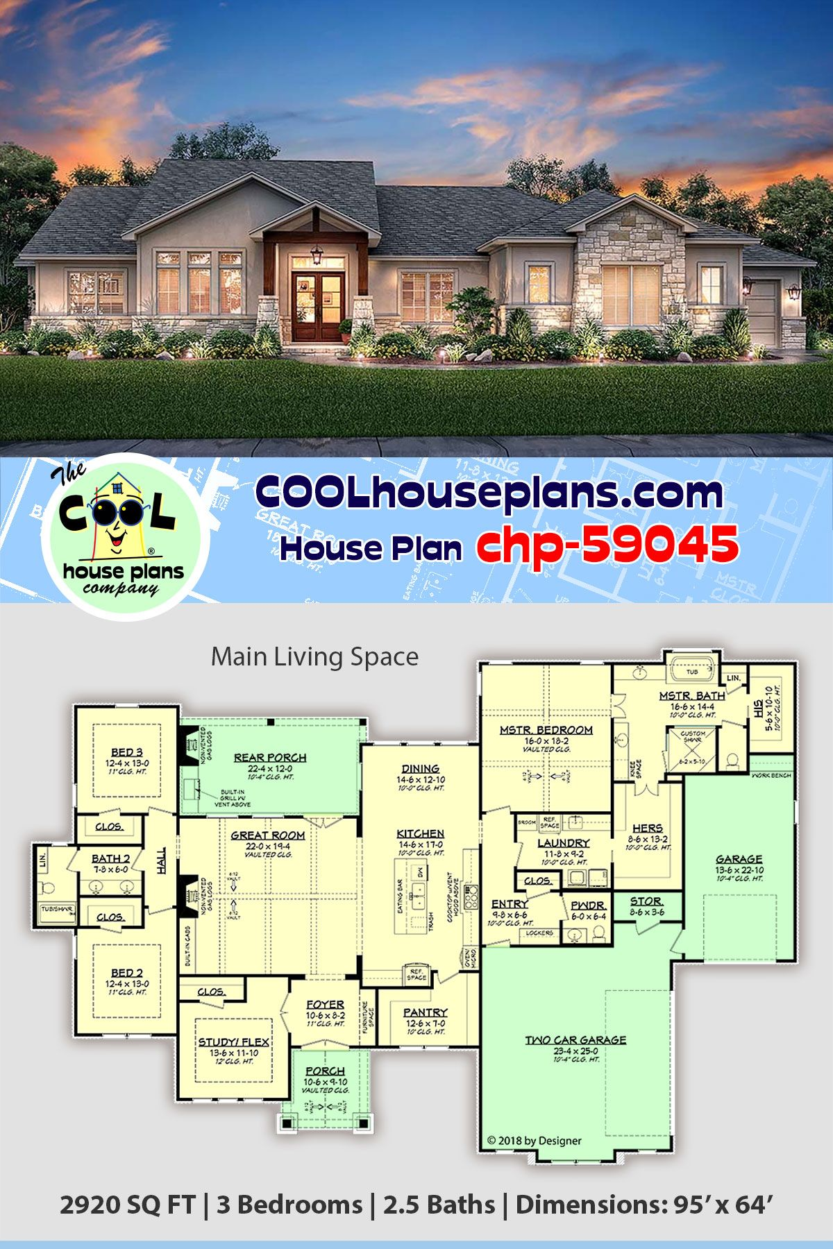 Tuscan Style House Plan 51982 With 3 Bed 3 Bath 3 Car Garage