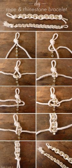 Diy Rhinestone Rope Bracelet