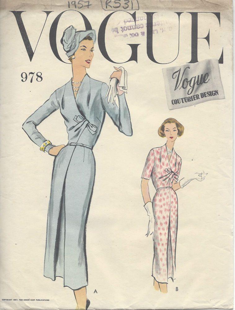 Details zu 1934 Vintage vogue-schnittmuster b40-42-44 Kleid (R949 ...