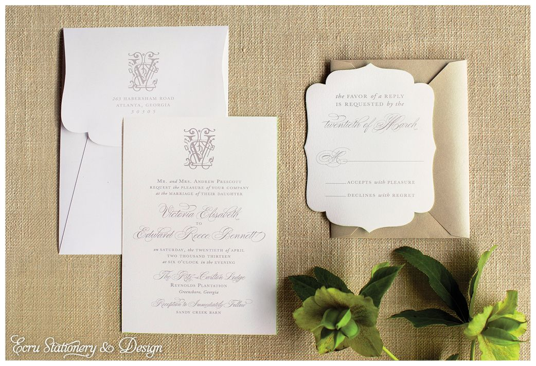 RitzCarlton Reynolds Plantation Monogram Die Cut Invitation by