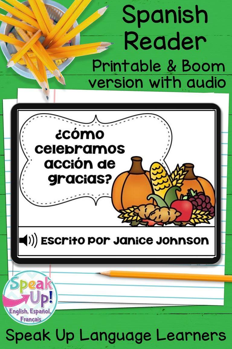 Acción de Gracias Spanish Reader Printable and Digital Boom Cards with audio