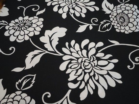 Black And White Floral Print Upholstery Fabric 13 Dollars One Yard