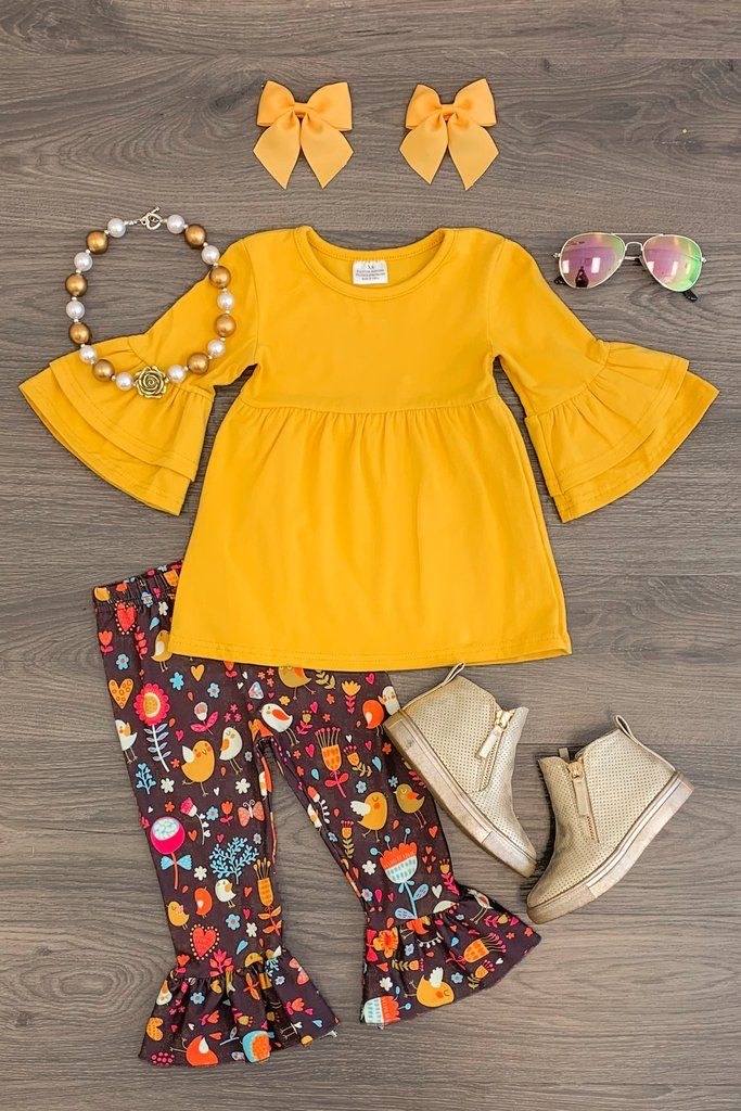 Mustard & Brown Bird Tunic Set | Baby gowns girl, Cute ...