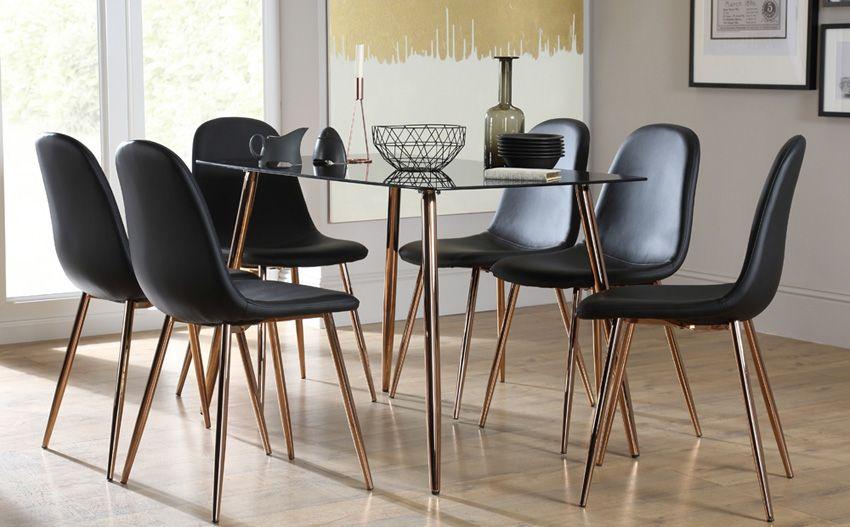Horizon Black Glass Dining Table