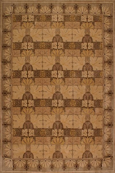 Tamarian Clearance Missino 8 Tree // Check out this Staff Pick from RugSmart.com President, Steve Cumbest – a Tibetan knotted rug from Nepal, mission style with oak leaves pattern. It's a truly simple and linear that is not only functional is piece of art!