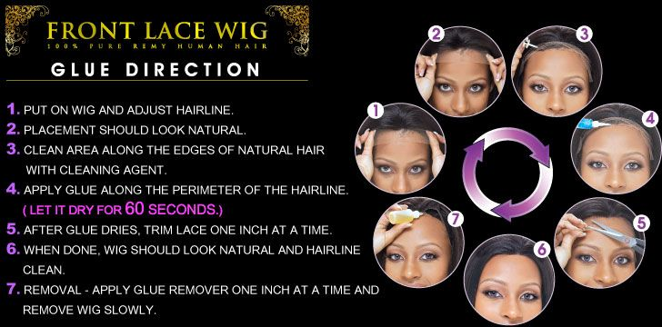Front lace wig glue direction