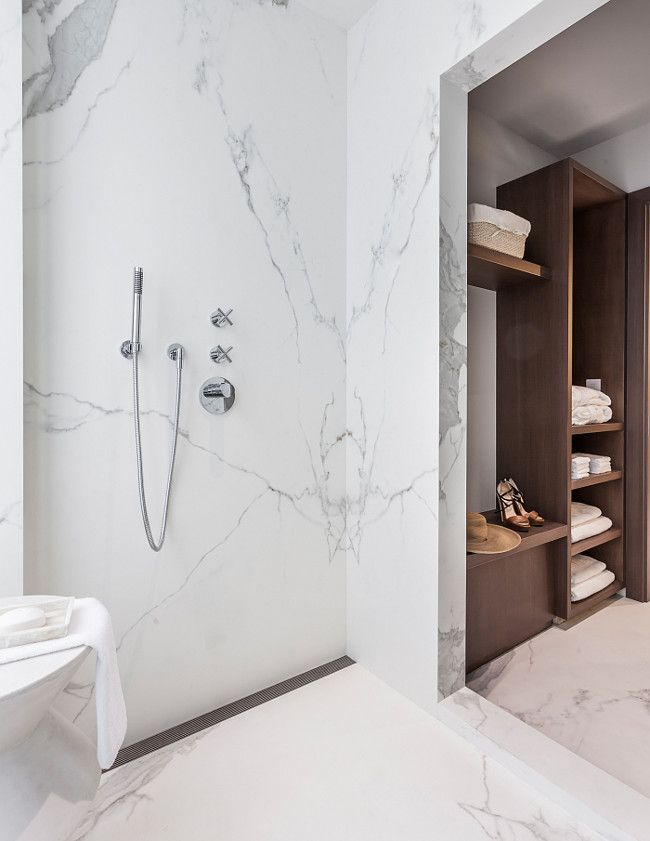 Marble Slab Shower. Bathroom With Marble Slab Shower. Sofia Joelsson.