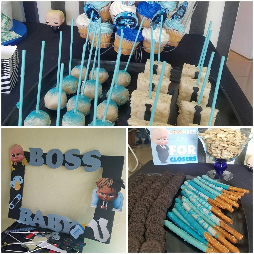 Boss Baby Theme 1st Birthday Party. #kidsparty #treattables #selfieframe #ricekrispytreats #cakepops #pretzelsticks