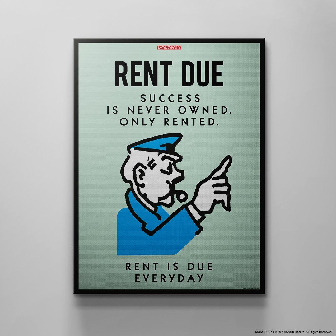 Monopoly Rent Due 12 X 18 Standard 75 No Frame In 2021 Canvas Set Wall Canvas Monopoly