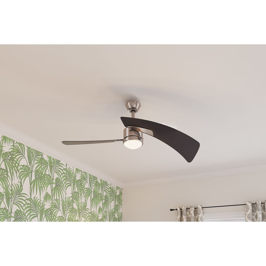Fanimation Studio Collection Aire Duo 48 In Brushed Nickel Led Indoor Downrod Ceiling Fan With Light Kit And Remot Ceiling Fan Ceiling Fan With Light Fan Light