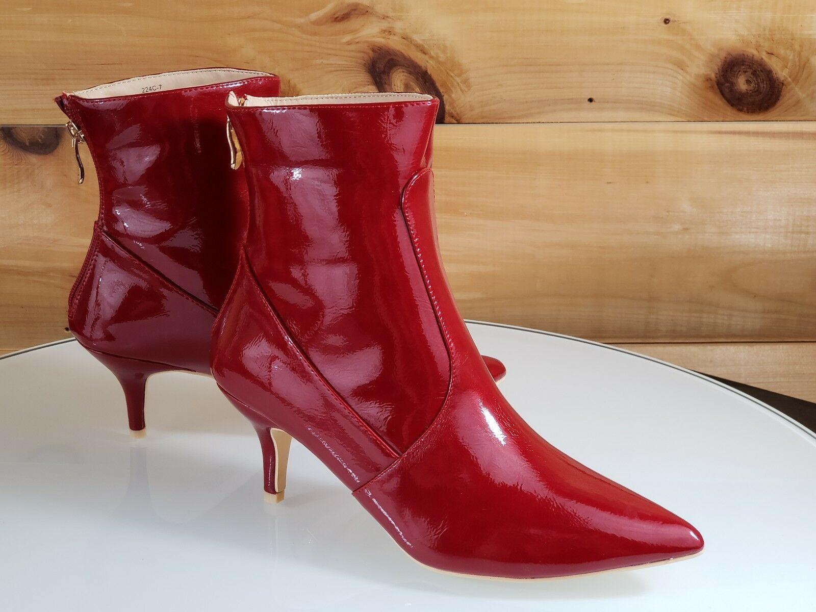 Mac J Red Wine Vegan Pointy Toe 2 5 Kitten Heel Ankle Boot Kitten Heel Ankle Boots Kitten Heel Boots Boots
